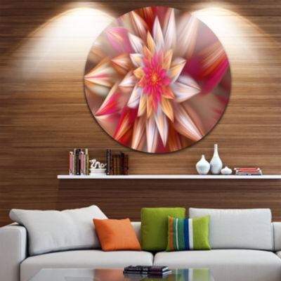 Design Art Huge Red Fractal Flower Floral Round Circle Metal Wall Art