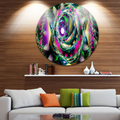 Design Art Colorful Exotic Whirlpool Flower FloralRound Circle Metal Wall Art