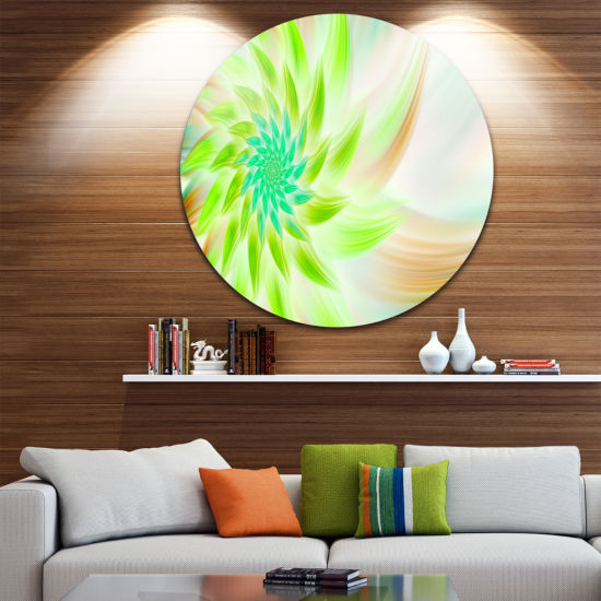 Design Art Huge Bright Green Fractal Flower FloralRound Circle Metal Wall Art