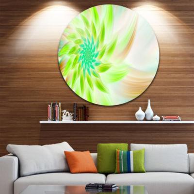 Design Art Huge Bright Green Fractal Flower FloralRound Circle Metal Wall Art