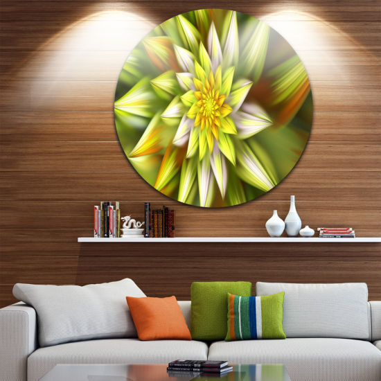 Design Art Huge Yellow Fractal Flower Floral RoundCircle Metal Wall Art