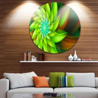 Design Art Huge Clear Green Fractal Flower FloralRound Circle Metal Wall Art