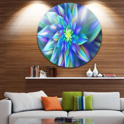 Design Art Huge Light Blue Fractal Flower Floral Round Circle Metal Wall Art