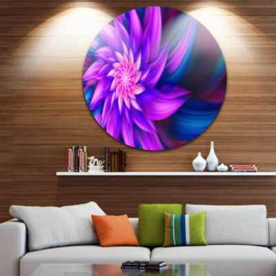 Design Art Huge Purple Fractal Flower Floral RoundCircle Metal Wall Art