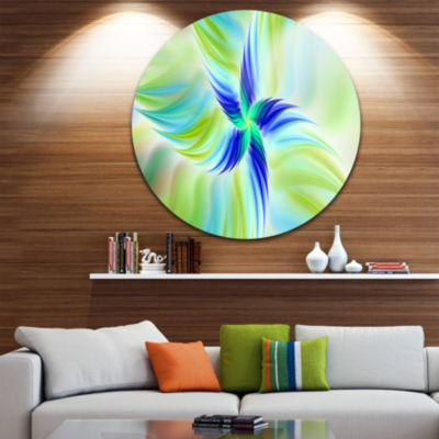 Design Art Huge Rotating Green Flower Floral RoundCircle Metal Wall Art