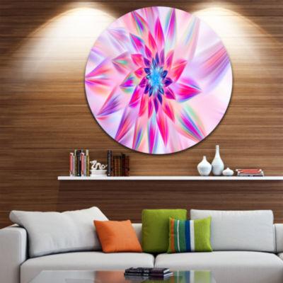 Design Art Huge Pink Blue Fractal Flower Floral Round Circle Metal Wall Art