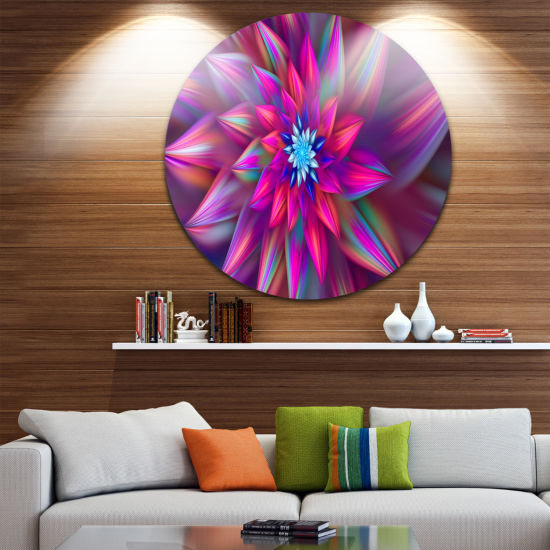 Design Art Huge Purple Pink Fractal Flower FloralRound Circle Metal Wall Art