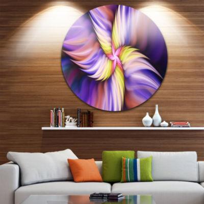 Design Art Purple Yellow Rotating Flower Floral Round Circle Metal Wall Art