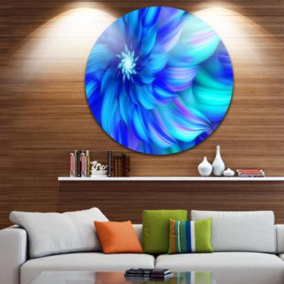 Design Art Massive Blue Fractal Flower Floral Round Circle Metal Wall Art