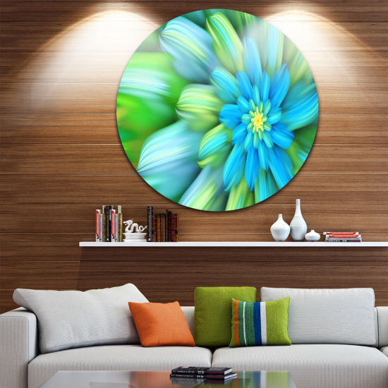 Design Art Massive Green Fractal Flower Floral Round Circle Metal Wall Art