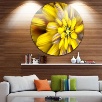Design Art Massive Yellow Fractal Flower Floral Round Circle Metal Wall Art