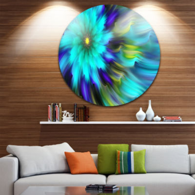 Design Art Massive Blue Green Fractal Flower Floral Round Circle Metal Wall Art