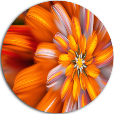 Design Art Massive Orange Fractal Flower Floral Round Circle Metal Wall Art
