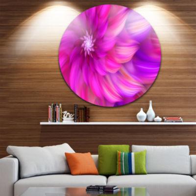 Design Art Massive Pink Fractal Flower Floral Round Circle Metal Wall Art