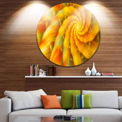 Design Art Rotating Yellow Fractal Flower Floral Round Circle Metal Wall Art
