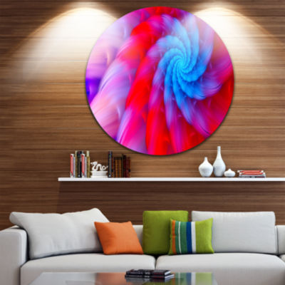 Design Art Rotating Red Pink Fractal Flower FloralRound Circle Metal Wall Art