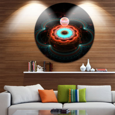 Design Art Balloon over Fractal Colored Area Floral Round Circle Metal Wall Art