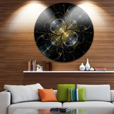 Design Art Symmetrical Golden Fractal Flower Floral Round Circle Metal Wall Art