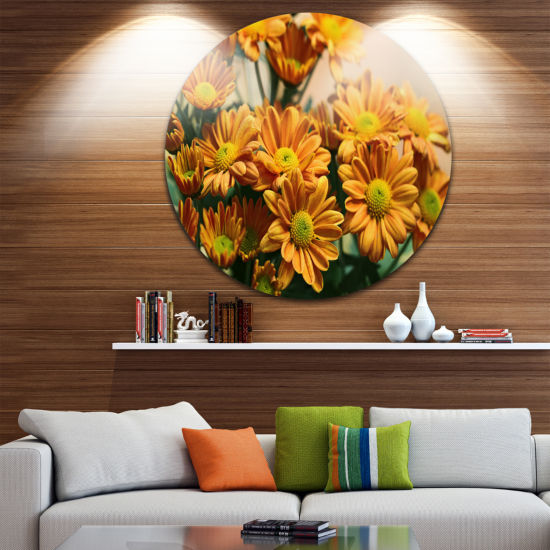 Design Art Bright Yellow Flowers in Garden FloralRound Circle Metal Wall Art