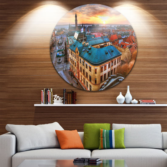Design Art Colorful City Landscape Cityscape RoundCircle Metal Wall Art