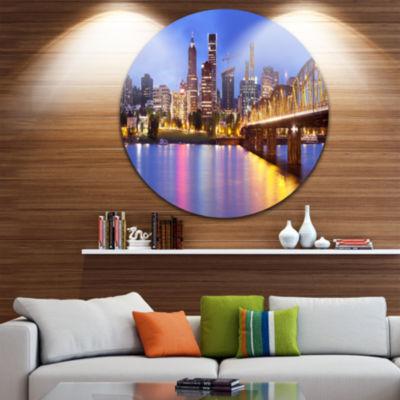Design Art Skyline across the Willamette River Cityscape Round Circle Metal Wall Art