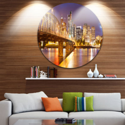 Design Art Skyline of Portland Panorama CityscapeRound Circle Metal Wall Art