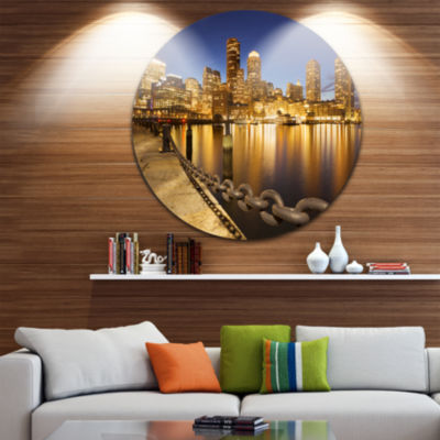 Design Art USA Skyline from Fan Pier at Night Cityscape Round Circle Metal Wall Art
