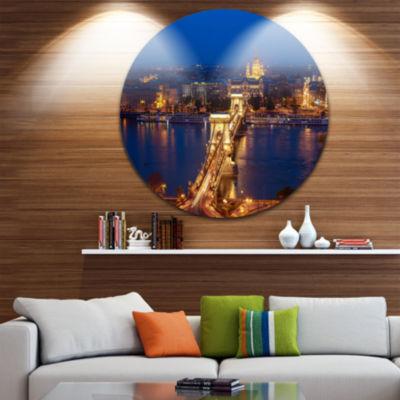Design Art Illuminated Cain Bridge Budapest Cityscape Round Circle Metal Wall Art