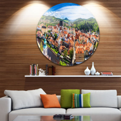 Design Art City Aerial View Panorama Cityscape Round Circle Metal Wall Art