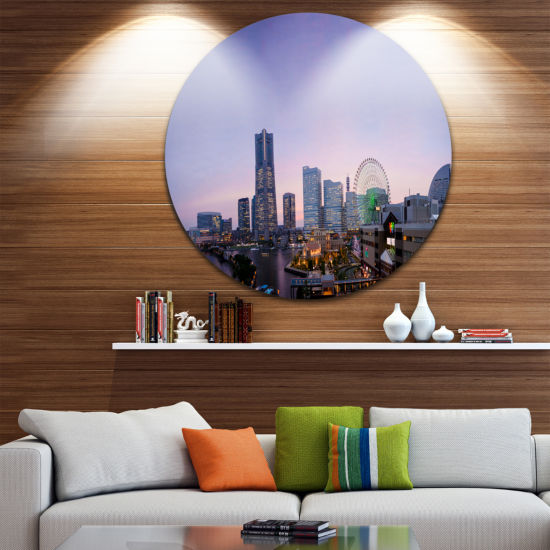 Design Art Minato Mirai Yokohama at Twilight Cityscape Round Circle Metal Wall Art