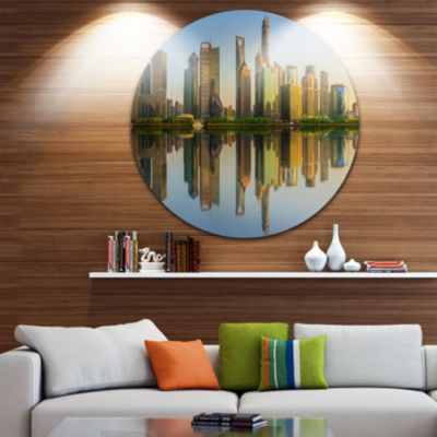 Design Art Shanghai Huangpu River at Sunset Cityscape Round Circle Metal Wall Art