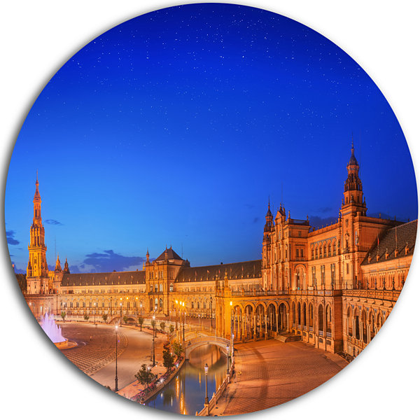 Design Art View of Spain Square at Sunset Cityscape Round Circle Metal Wall Art