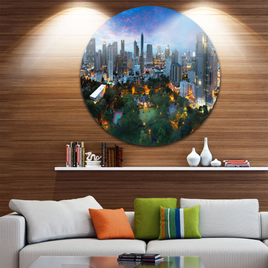 Design Art Bangkok City Skyline Cityscape Round Circle Metal Wall Art