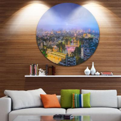 Design Art Li River and Karst Hills Panorama Cityscape Round Circle Metal Wall Art