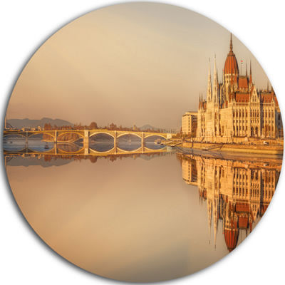 Design Art Hungarian Parliament Panorama CityscapeRound Circle Metal Wall Art