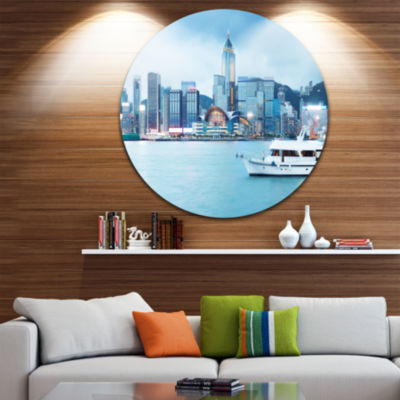 Design Art Hong Kong City at Night Cityscape RoundCircle Metal Wall Art