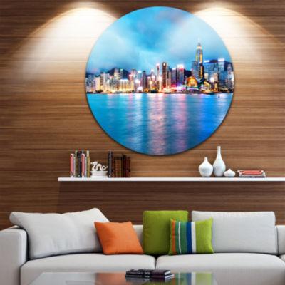 Design Art Colorful Hong Kong at Night Cityscape Round Circle Metal Wall Art