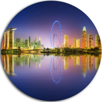 Design Art Singapore Skyline and Blue Sky Cityscape Round Circle Metal Wall Art