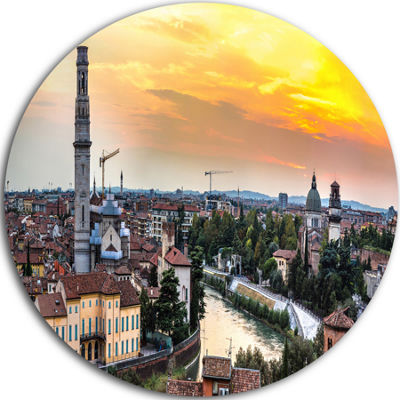 Design Art Verona at Sunset in Italy Cityscape Round Circle Metal Wall Art