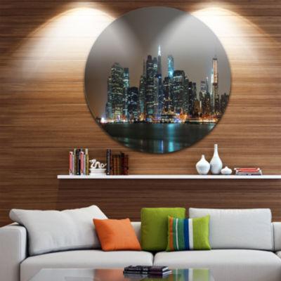 Design Art Evening New York Panorama Cityscape Round Circle Metal Wall Art
