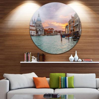 Design Art Santa Maria Della Salute Cityscape Round Circle Metal Wall Art