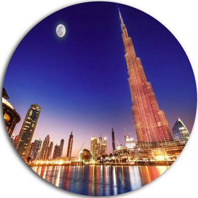 Design Art Burj Khalifa Night Landscape CityscapeRound Circle Metal Wall Art