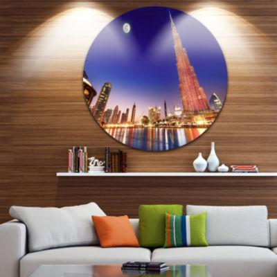 Design Art Burj Khalifa Night Landscape CityscapeRound Circle Metal Wall Art