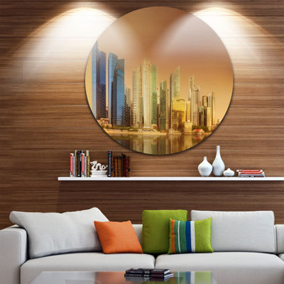Design Art Singapore Skyline under Brown Sky Cityscape Round Circle Metal Wall Art