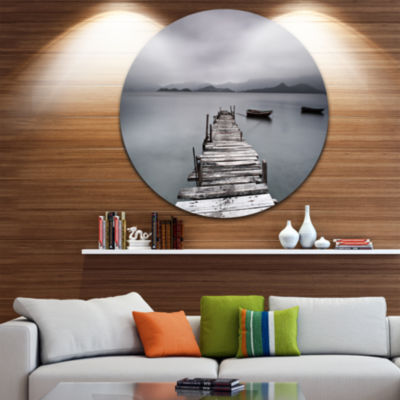 Design Art Pier and Boats at Seashore Bridge RoundCircle Metal Wall Art