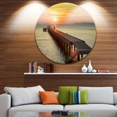 Design Art Boat Pier at Sunset Bridge Round CircleMetal Wall Art