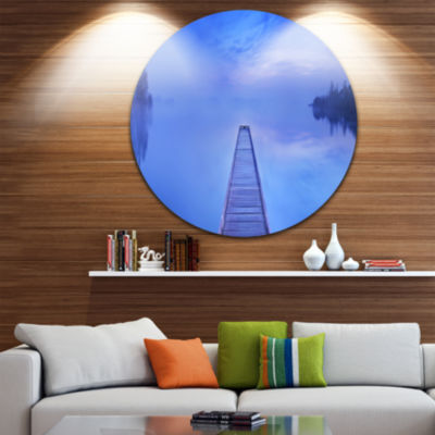 Design Art Jetty at Blue Dawn Panorama Bridge Round Circle Metal Wall Art