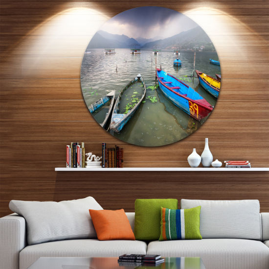 Design Art Boats near Pokhara Lake Boat Round Circle Metal Wall Art