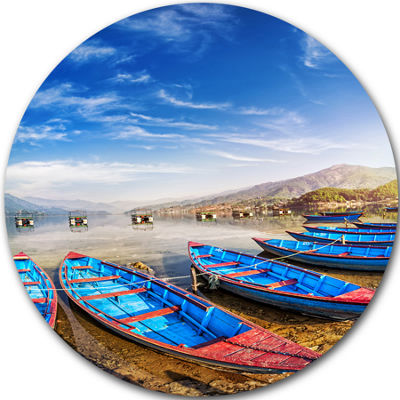 Design Art Blue Boats under Blue Sky Boat Round Circle Metal Wall Art
