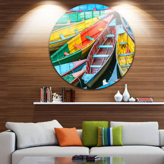 Design Art Rowing Boats on the Lake in Pokhara Boat Round Circle Metal Wall Art